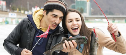 Фестиваль форели в Корее, зимняя рыбалка